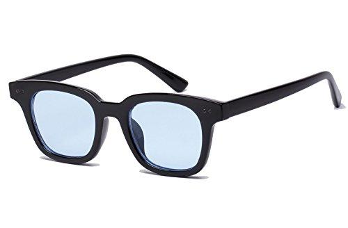 Blues Glasses Black (Bestum Inspired Square Sunglasses With Rivets Tinted Lens UV400 (Black, Light blue))
