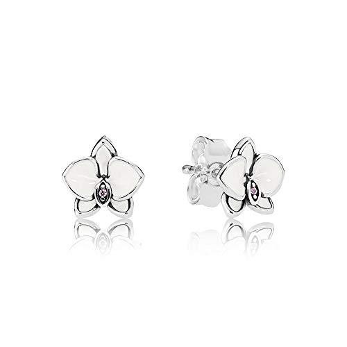 Earrings Pandora Button 290749EN12 Woman Silver Enamel
