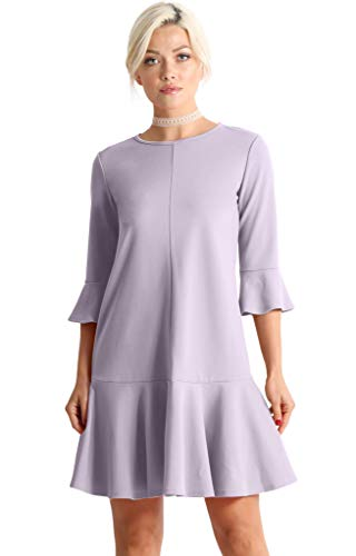 Womens Cocktail 3/4 and Short Sleeve Ruffle Hem Shift Dress - Made in USA (Size Medium, Lavender)