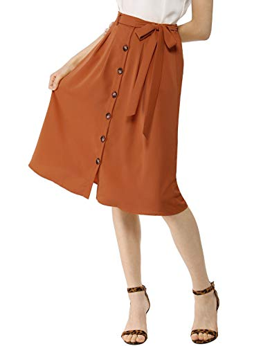 Allegra K Women's Button Front Casual High Waist Belted Midi Flare Skirt Brown X-Small - Belted Floral Skirt