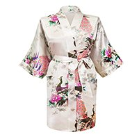 Gifts Are Blue Floral Satin Womens Plus Size Robes, Lightweight, Sizes 20-38, Knee Length (White, 6XL / 28W - 38W) by Gifts Are Blue (Image #1)