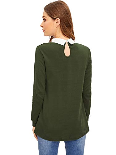 Romwe Women's Casual Contrast Beading Collar Long Sleeve Tunic Tops Green US 12-14/Large