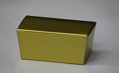 Gold Truffle Box - 50 Gold Truffle Ballotin Favor Box for Weddings or Parties (Holds 2 Pieces of Chocolate)