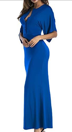 willwinWomen Solid Colored Maxi Blue Sapphire Falbala Neck Waist Bodycon High Dress V qXrrwxO