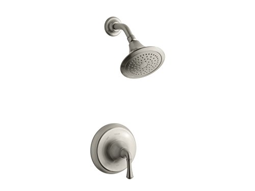 (Kohler TS10276-4A-BN K-TS10276-4A-BN Forte Traditional Rite-Temp Shower Valve Trim with 2.5 gpm showerhead Vibrant Brushed Nickel)