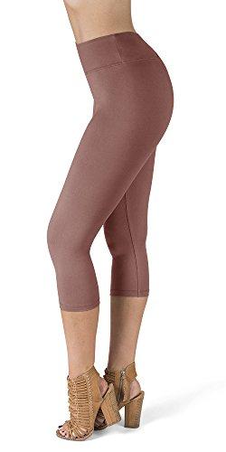 (SATINA High Waisted Super Soft Capri Leggings - 20 Colors - Reg & Plus Size (Plus Size, Old Rose))