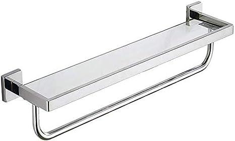 Size : 40cm Mlzaq Cuarto de ba/ño estante de vidrio vidrio estanter/ía de ba/ño montado en la pared del estante de la ducha con 304 acero inoxidable toallero