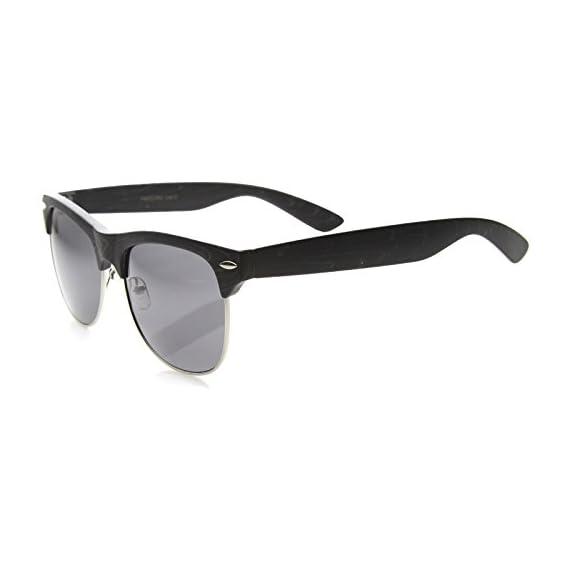 Classic Retro Wood Printed Half Frame Horn Rimmed Sunglasses 54mm 3 Elegant Wood Frame Finish Classic Horn Rimmed Design Edgy Half Frame Silhouette