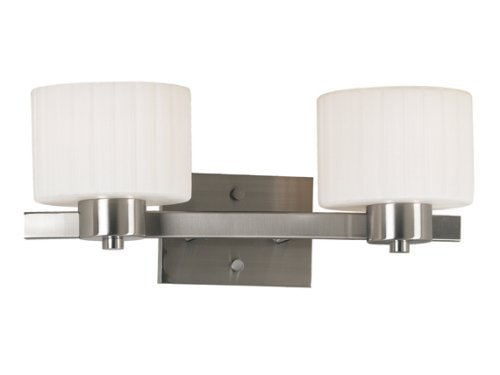 Kenroy Home 80412BS Legacy Two-Light Vanity Light with 6-Inch fluted Glass Shade by Kenroy Home ()