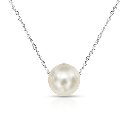 14K White Gold Chain with 9-9.5mm White Freshwater Cultured Pearl Floating Pendant Necklace, ()