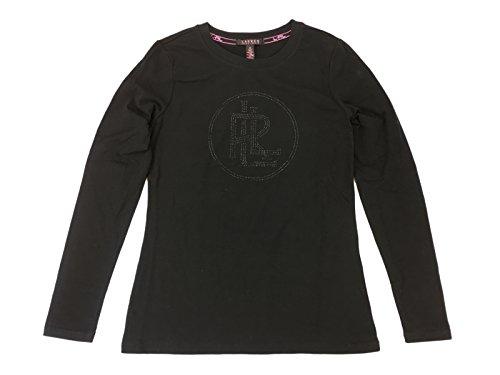 Lauren Ralph Lauren Women's Lauren Pink Long Sleeve Tonal Bling Logo Shirt Large Black