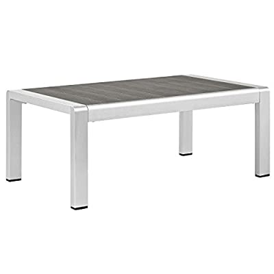 Modway Shore Aluminum Outdoor Patio Coffee Table in Silver Gray - PATIO REFRESH - Update your backyard or porch with inviting outdoor furniture. Effortlessly accommodate the needs of your outdoor space with furniture that's great for both entertaining and relaxing WEATHER-RESISTANT - Style meets function in this outdoor patio coffee table. With a durable anodized aluminum frame, this modern end table is both water and UV resistant for years of outdoor use CONTEMPORARY STYLE - Clean lines, wood grain slats, and a sleek profile enhance the modern look of this outdoor coffee table. The plastic panel table top creates a practical, easy to clean surface - patio-tables, patio-furniture, patio - 31qIEio2APL. SS400  -