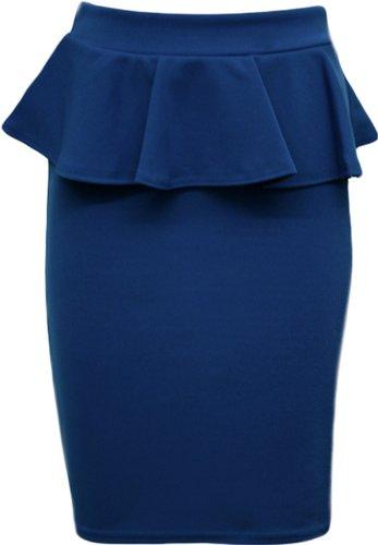peplum jabot taille Blue vases midi femmes crayon jupes moulantes nouvelles Royal Ixw1tU4q7