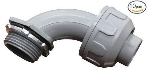 Non-Metallic Liquid Tight Push On Connector Fittings (90-Degree, 1/2 In. Diameter (10-pack))