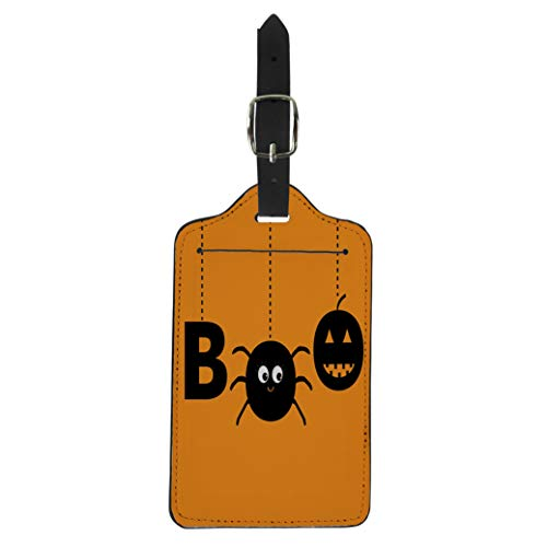 Semtomn Luggage Tag Hanging Word Boo Text Smiling Sad Black Pumpkin Spider Suitcase Baggage Label Travel Tag Labels -