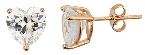Sterling Silver 6x6mm AAA Heart Solitaire Stud Earrings (rose-gold-and-sterling-silver)
