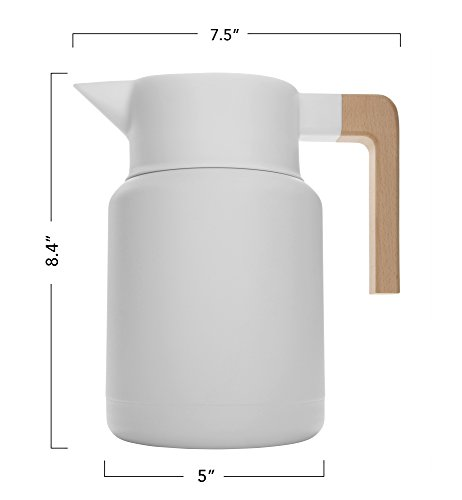 Large Thermal Coffee Carafe - Stainless Steel, Double Walled Thermal Pots For Coffee and Teas by Hastings Collective - White, Vacuum Carafes With Removable Tea Infuser and Strainer | 50 Oz. by Hastings Collective (Image #9)'
