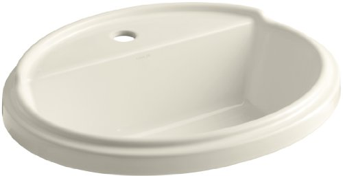 KOHLER K-2992-1-47 Tresham Oval Shaped Self-Rimming Bathroom Sink with Single-Hole Faucet Drilling, Almond -