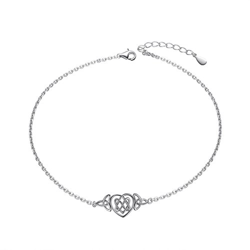 Heart Celtic Knot Anklet for Women S925 Sterling Silver Adjustable Ankle Foot Bracelet 10 Inch ()