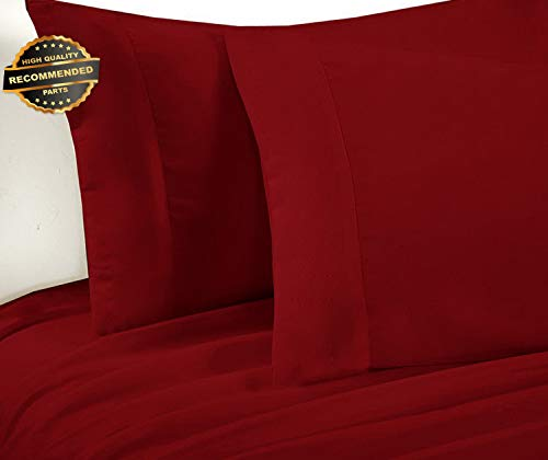 Gatton Premium New Fitted Sheet Bed Sheets Set 1800 Series Solid Microfiber Red | Collection SHEESRONG-200114778 ()