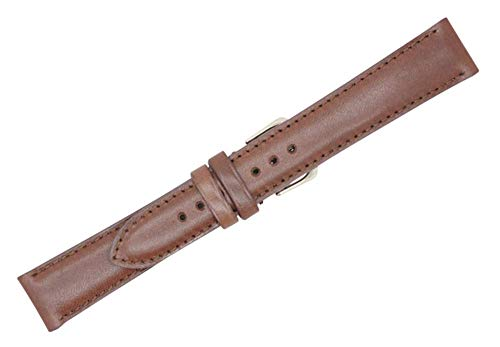 (Quick Release American Saddle Genuine Leather Padded Stitched Watch Strap Band - American Factory Direct - Gold and Silver Buckles - Made in USA by Real Leather Creations 22mm Cognac FBA774)