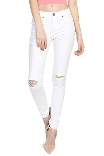 Dustin Clothes Low Rise Distressed Skinny Jeans In Ripped Slash Knee Soft White Denim