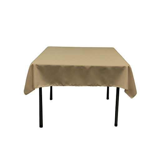 LA Linen Polyester Poplin Square Tablecloth, 52 by 52-Inch, Taupe (Tablecloth Solid Linen)