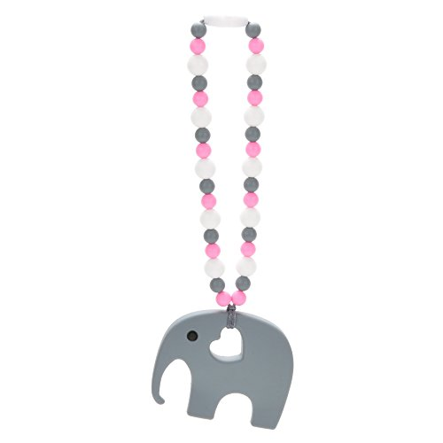 Nummy Beads Pink Elephant Teether Toy Attaches To Baby Carrier, Car Seat, High Chair, Stroller or Diaper Bag