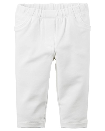 Carter's Girl French Terry Pants with Mock Pockets; White, 12M