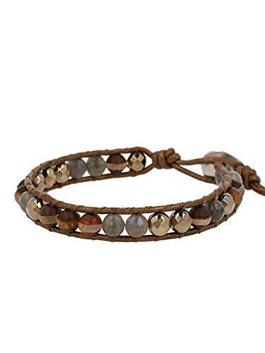 Chan Luu Pyrite Beaded Single Wrap Bracelet on Leather