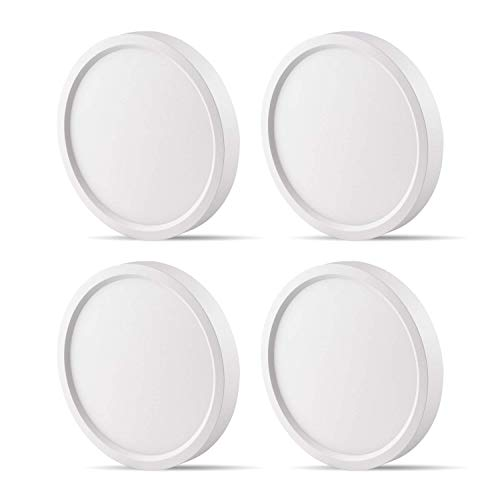 Surface Mount Light Fixture, Round, 120VAC, 10W, 600LM, 3000K Soft White, CRI80, Driverless, Edge Lite Flush Mount Ceiling Light, ETL Certified, Damp Location, White, 4 Packs ()