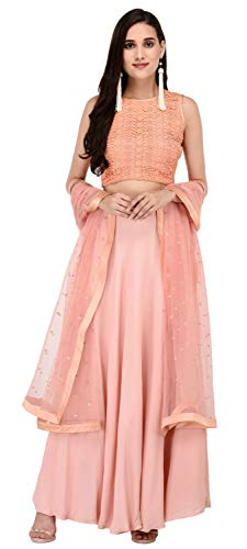 Miracolos Cotton lace/Shantoon Stylish Party Dress Lehenga Choli with Net Dupatta Peach Colour Size-S