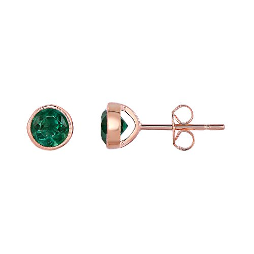 Sterling-Silver-Bezel-Set-Created-Emerald-Stud-Earrings-6-mm