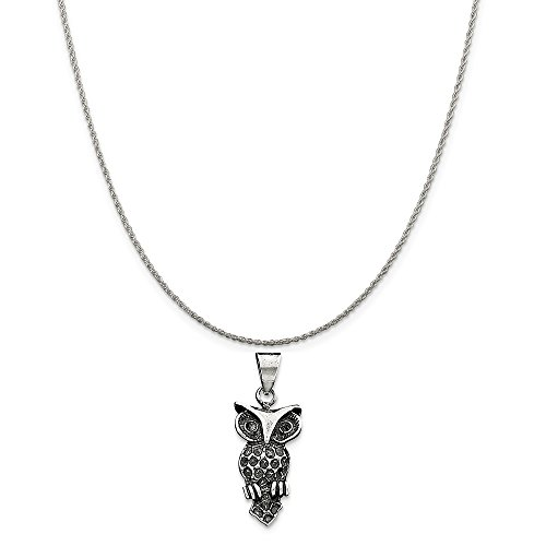 Mireval Sterling Silver Antiqued Owl Charm on a Sterling Silver Rope Chain Necklace, 18