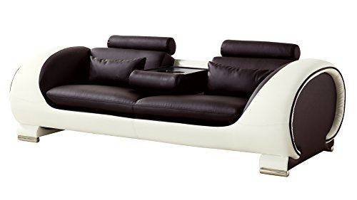 American Eagle Furniture AE-D802-DC.CRM-SF Baltimore Collection Two-Toned Upholstered Faux Leather Living Room Sofa with Adjustable Headrests, Dark - Toned Set Two Sectional