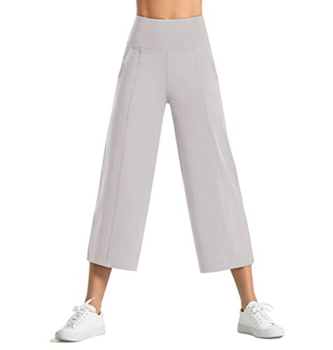 Dragon Fit Women Bootleg Yoga Capris Pants with Pockets Tummy Control High Waist Workout Flare Crop Pants