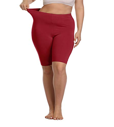 Kotii Women's Plus Size Short Leggings Modal Cotton Shorts Under Dresses Leggings Pants,2X Wine