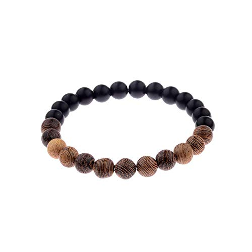 - Natural Tibetan Mala Stone Beaded Bracelet - Matte Black Onyx Bead Designed with Unique Tiger Eye Beads - Yoga Fashion Jewelry for Men and Women (Black/Wood)