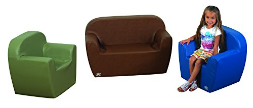 Cozy Woodland Club Kids Seating Group Color: Dark Sage/Dark Brown/Dark Blue by Children's Factory (Image #1)