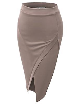 J.TOMSON Women's Basic Asymmetrical Slim Pencil Skirt Beige XS