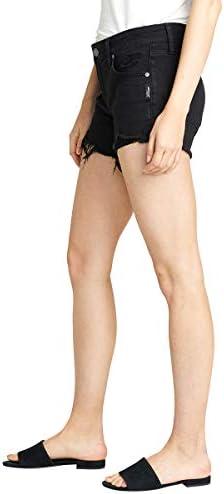 Silver Jeans Co. Women's Boyfriend Mid Rise Short, black Wash, 25W