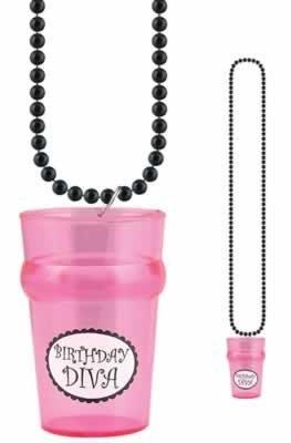Birthday Diva Shot Glass Bead Necklace