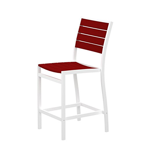(Euro Counter Side Chair Seat and Back Finish: Sunset Red, Finish: Textured White)