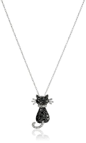 [14k White Gold Black and White Diamond Cat Pendant Necklace (1/3 cttw)] (Gold Diamond Cat Pendant)