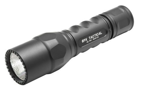 SureFire 6PX Tactical Single-Output LED Flashlight with anodizded aluminum body, Black