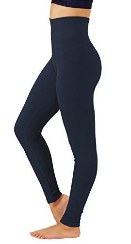 - KVKSEA Women's High Waist Cotton-Spandex Yoga Pants Workout Leggings (Large/X-Large, Navy-lhw010)