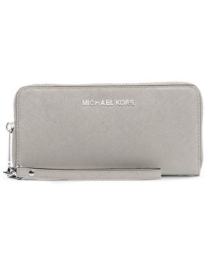 MICHAEL Michael Kors Jet Set Travel Large Flat Multifunction Phone Case in Pearl Grey