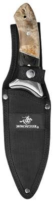 Winchester Large Fixed Blade Knife, Burl Wood, Fine Edge [22-41784]