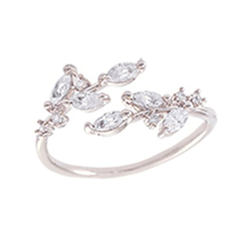 (Sterling Silver Plated & 18K Gold plated Cubic Zirconia tree branch leaves joint Band Ring,adjustable (White) )