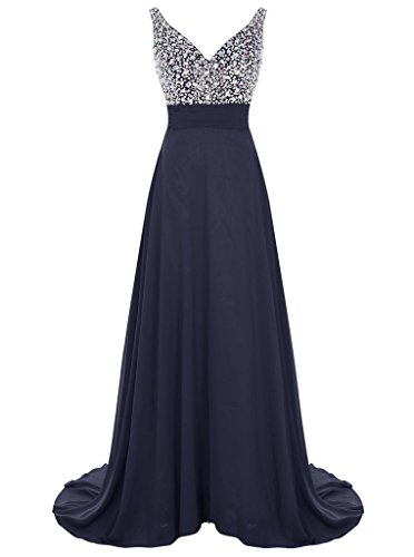 Long Chiffon V-Neck Prom Dress Beaded Evening Bridesmaid ...